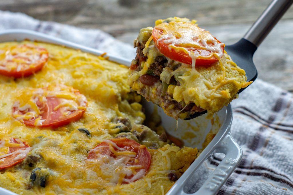 slice of cornbread casserole
