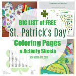 FREE Printable St Patrick's Day coloring pages and activity sheets featuring shamrocks, leprechauns, 4-leaf clovers, pots of gold, and more. Kids will stay busy and enjoy the variety of free Saint Patrick's Day activities like word searches, color by number, sight word games, bingo cards and more.