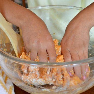 This Edible Pumpkin Playdough recipe is a fun fall activity for kids.