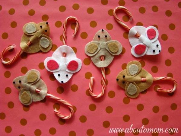 Candy cane mice holiday craft project for Easy candy cane crafts
