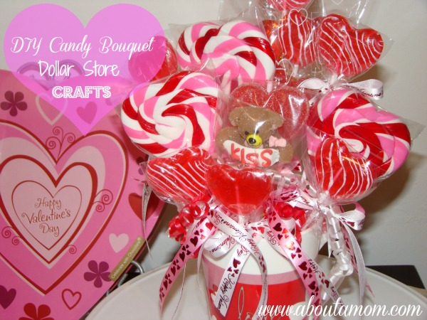 DIY Candy Bouquet - Dollar Store Crafts for Valentine's Day