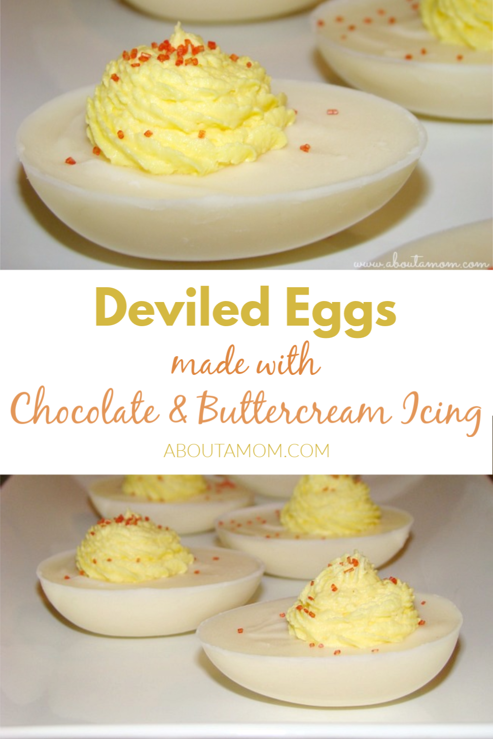 These deviled eggs made from chocolate and buttercream icing are such a fun Easter dessert idea, though it seem more like an April Fool's joke for your guests. It truly is hard to tell that they aren't real eggs.