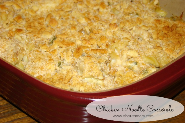 This comforting chicken noodle casserole is a hearty meal that comes together quickly, and is perfect for a busy weeknight.