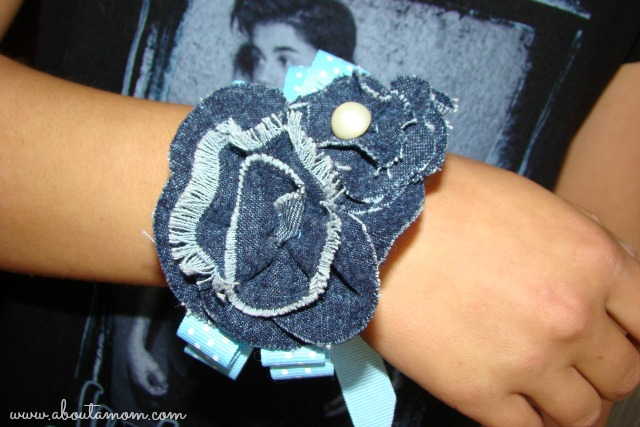 Mother's Day Wrist Corsage Made with Denim Ribbon Roses