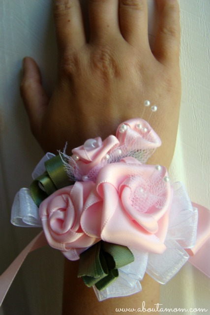 Mother's Day Wrist Corsage made with Ribbon Roses