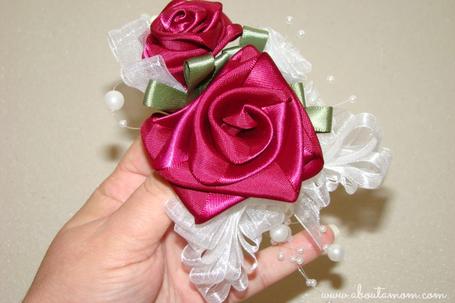 Red Ribbon Roses Corsage for Mother's Day