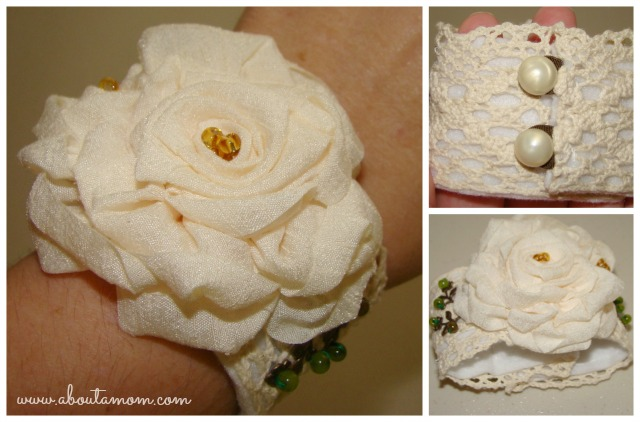 Victorian Wrist Cuff with Ribbon Roses