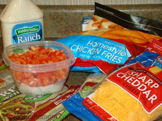 Ingredients for Crunchy Chicken Ranch Wraps made with Tyson Chicken Fries