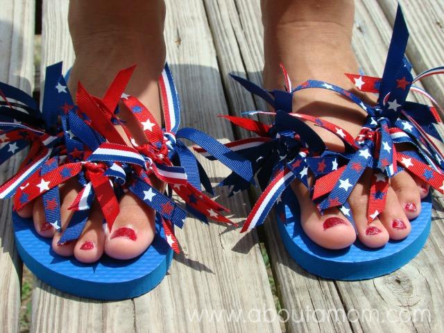 870887e6e DIY Ribbon Flip Flops - About A Mom