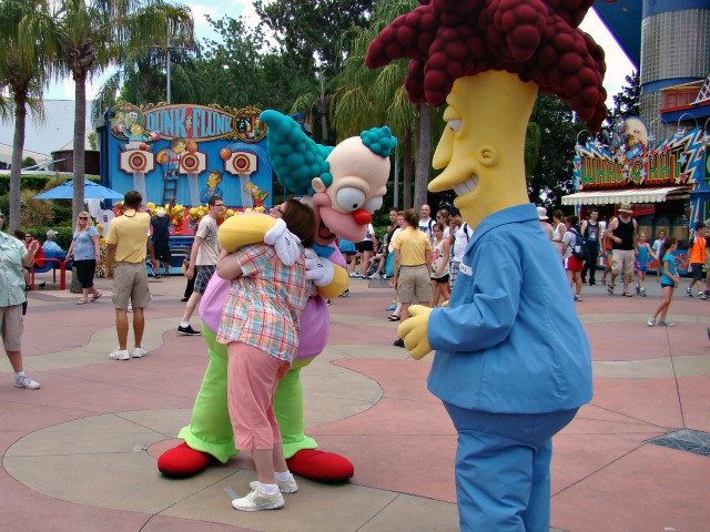 Experience The Simpsons at Universal Orlando - Hugs with Krusty