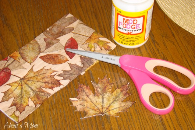 Fall Decoupage Candle Holder Dollar Store Craft Project