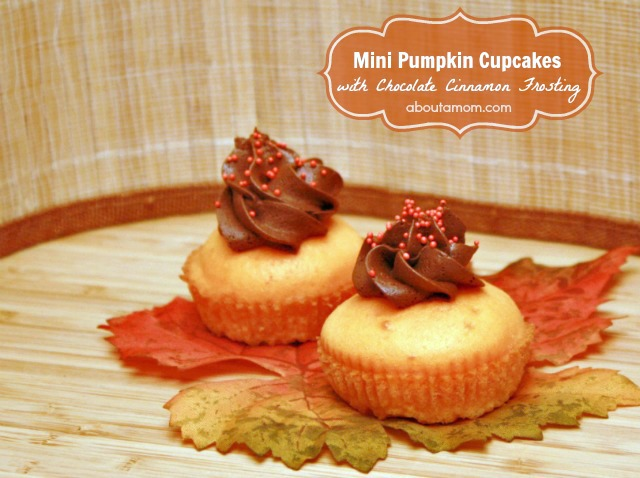 Mini Pumpkin Cupcakes with Chocolate Cinnamon Frosting