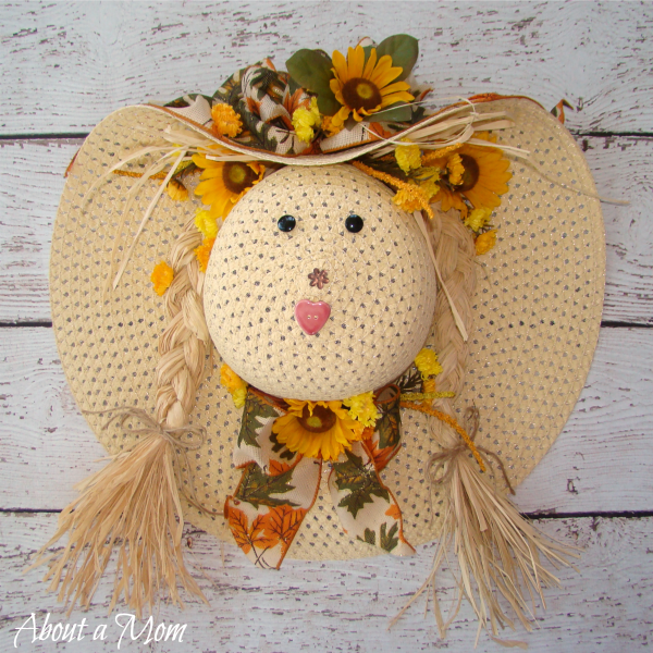 Straw Hat Scarecrow Fall Wreath About A Mom