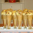 Marshmallow Popcorn Ball ice Cream Cones for Halloween
