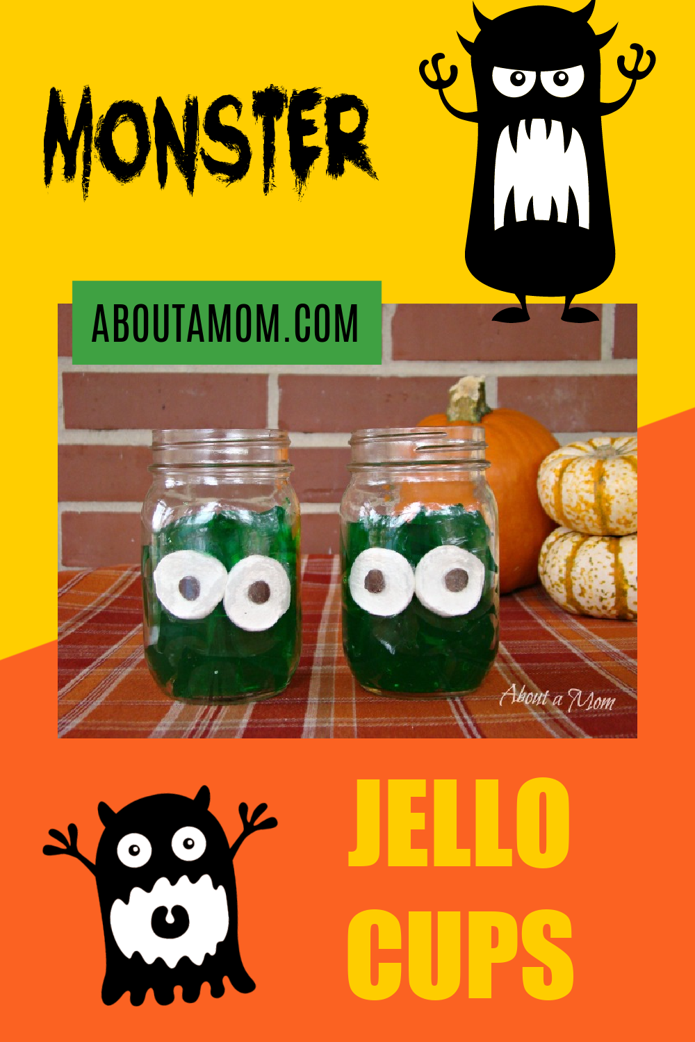 These are the easiest Halloween Jello Cups to make! Monster Jello Cups are a fun and simple Halloween snack that's not too scary and suitable for  younger kids, You only need 3 ingredients to make these!