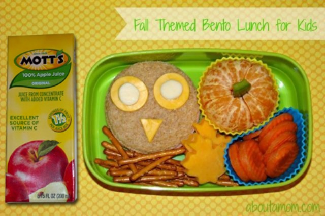 Motts Apple Juice and Simple Fall Themed Bento Lunch for Kids