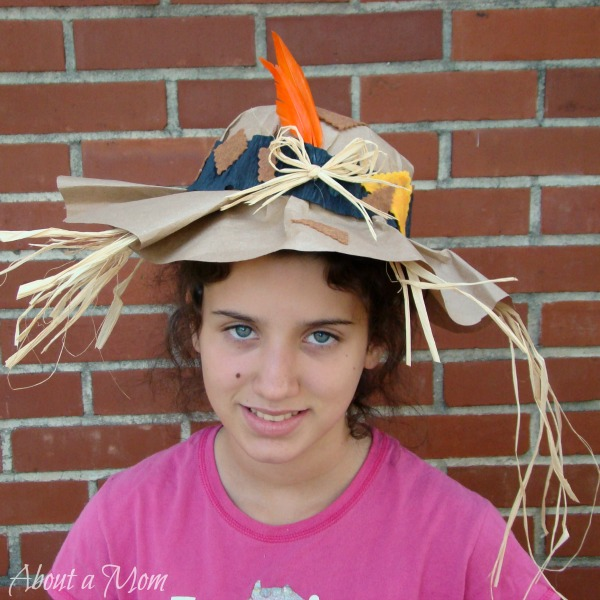 Paper Bag Scarecrow Hat - DIY Halloween Costume