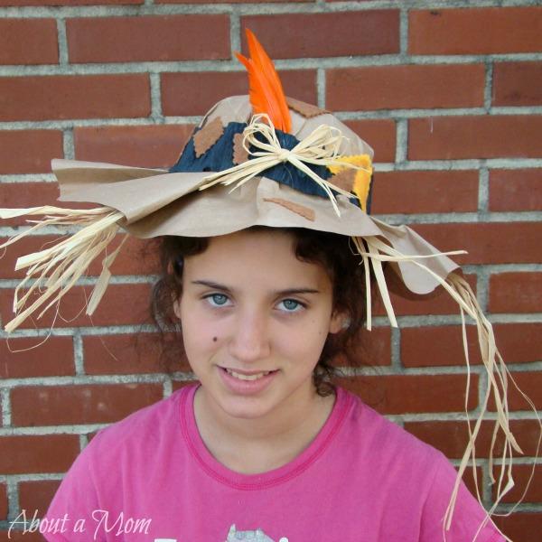 Paper Bag Scarecrow Hat - DIY Halloween Costume