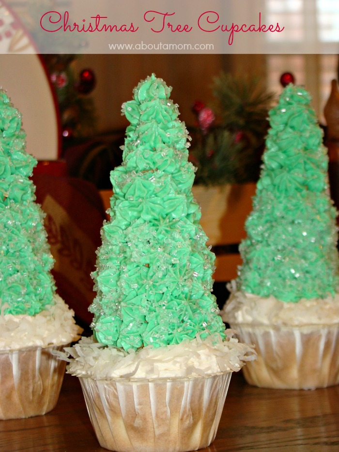 Christmas Tree Cupcakes made with Truvia Baking Blend #HealtherHolidays