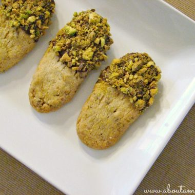 Chocolate Dunked Pistachio Shortbread Cookies