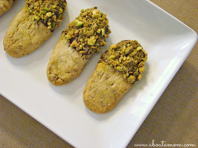Chocolate Dunked Pistachio Shortbread Cookies