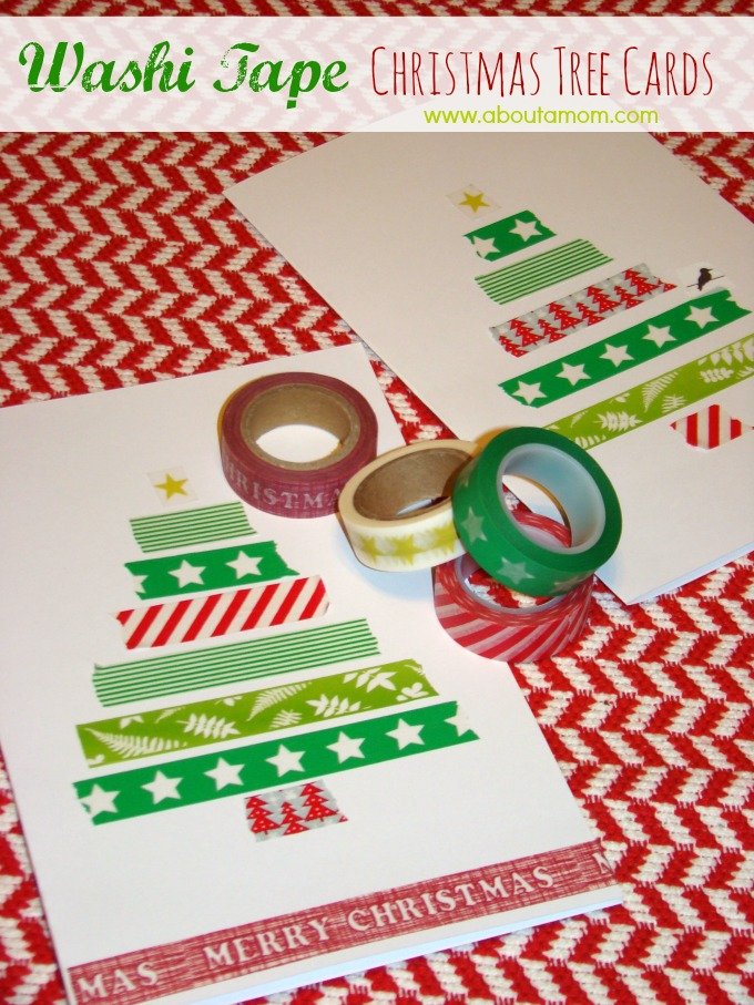 Washi Tape Christmas Tree Cards - About A Mom