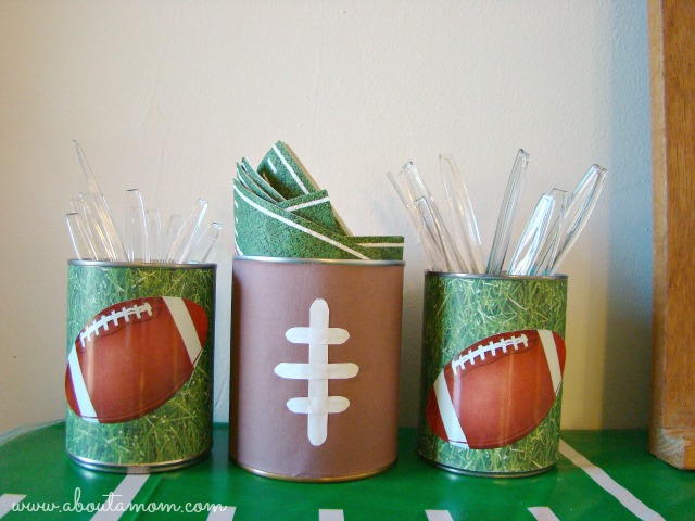 Game Day Party Ideas - Utensil Holders Made from Cans