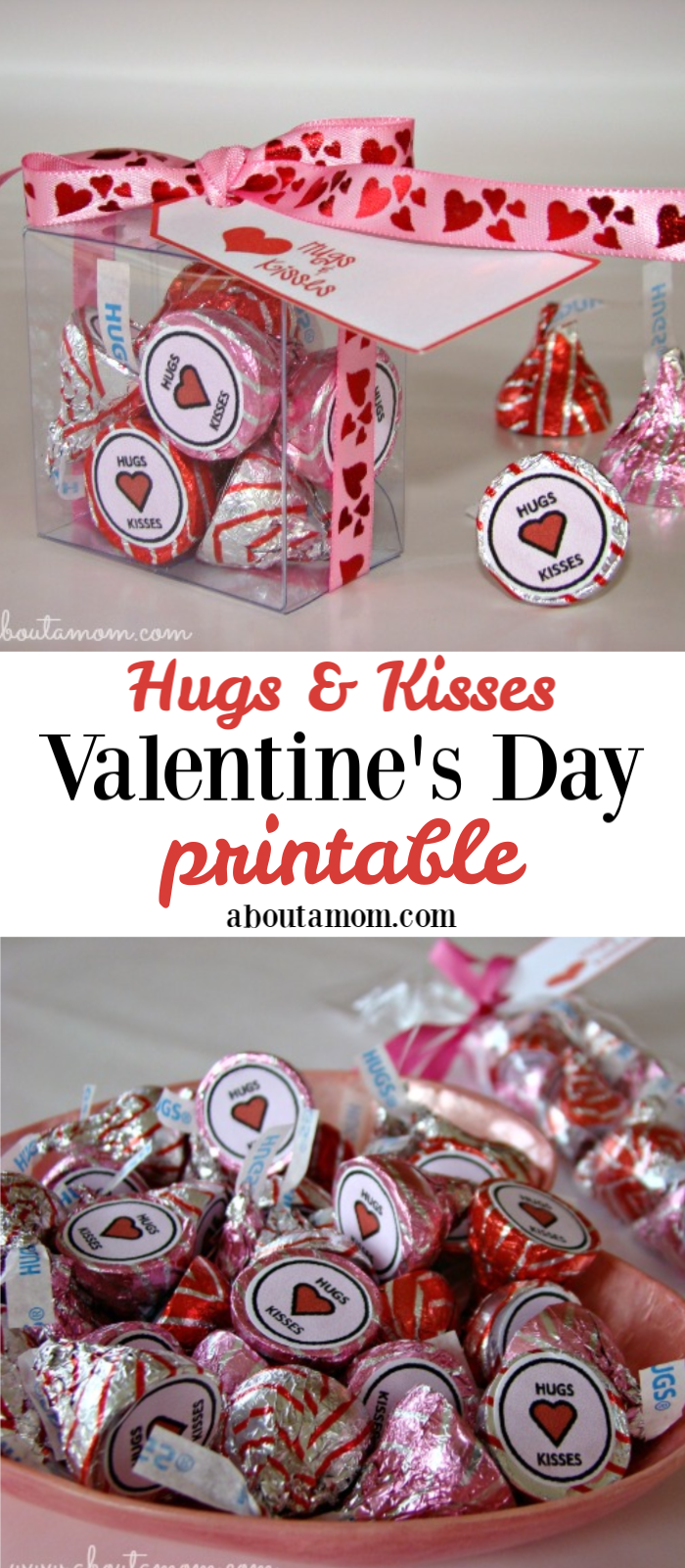 Give a sweet gift with these Hugs and Kisses Valentine's Day printables. Included are free downloads for Hershey Kiss printable and gift tag printable.