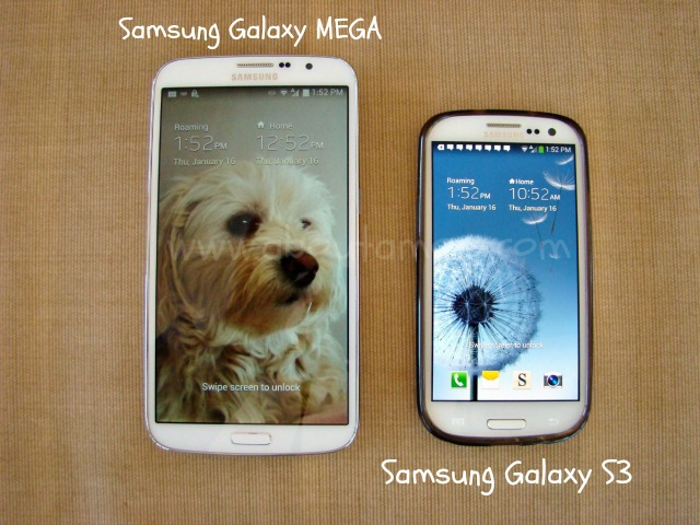 Samsung Galaxy Mega Side by Side with Samsung Galaxy S3