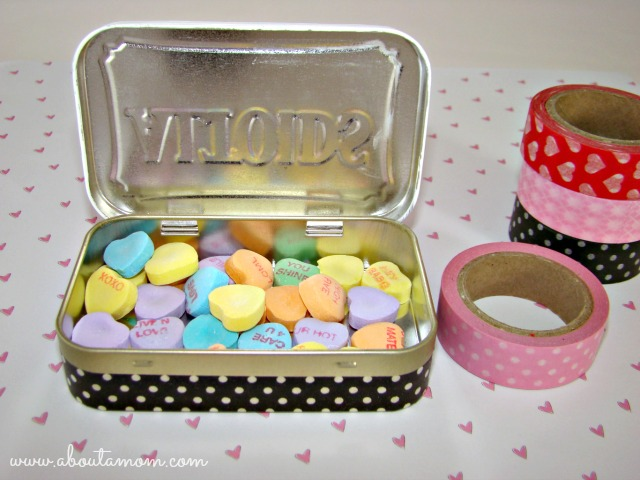 Upcycled Altoid Tin using Washi Tape for Valentine's Day