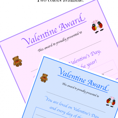 Free Valentine Printable - Valentine Award Certificate