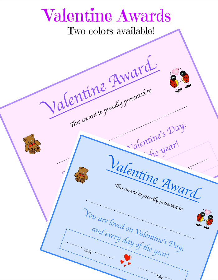 Valentine Printable - Valentine Award Certificate