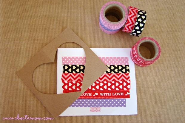 Peekaboo Heart Washi Tape Valentine's Day Card