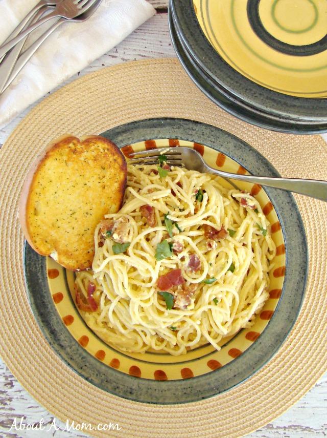 Spaghetti Carbonara - Family Dollar More for Less Recipe Challenge Finalist #FamilyDollarMore4Less