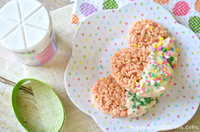 White Chocolate Dipped Easter Rice Krispies Treats