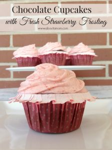 Chocolate Cupcakes with Fresh Strawberry Frosting