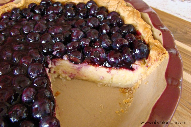 Lemon Buttermilk Pie with Blueberries