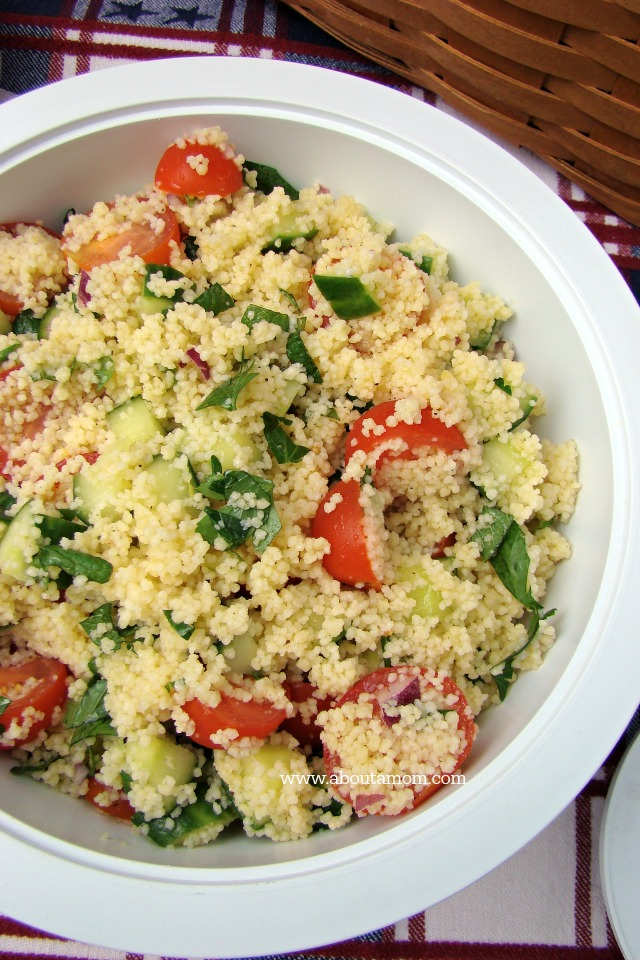 This couscous salad is full of summer flavor with cherry tomatoes ...