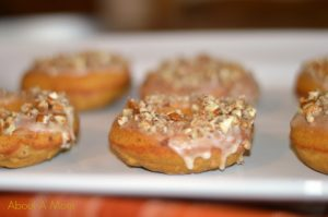 Baked Pumpkin Pecan Doughnuts with Maple Glaze
