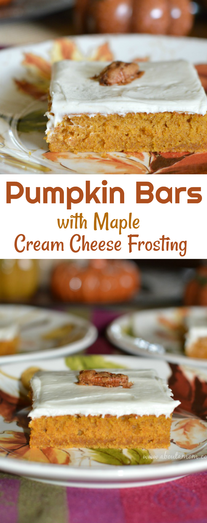 Enjoy the flavors of the fall season with these Pumpkin Bars topped with maple cream cheese frosting. Candied pecans add a bit of crunch to this flavorful fall dessert.