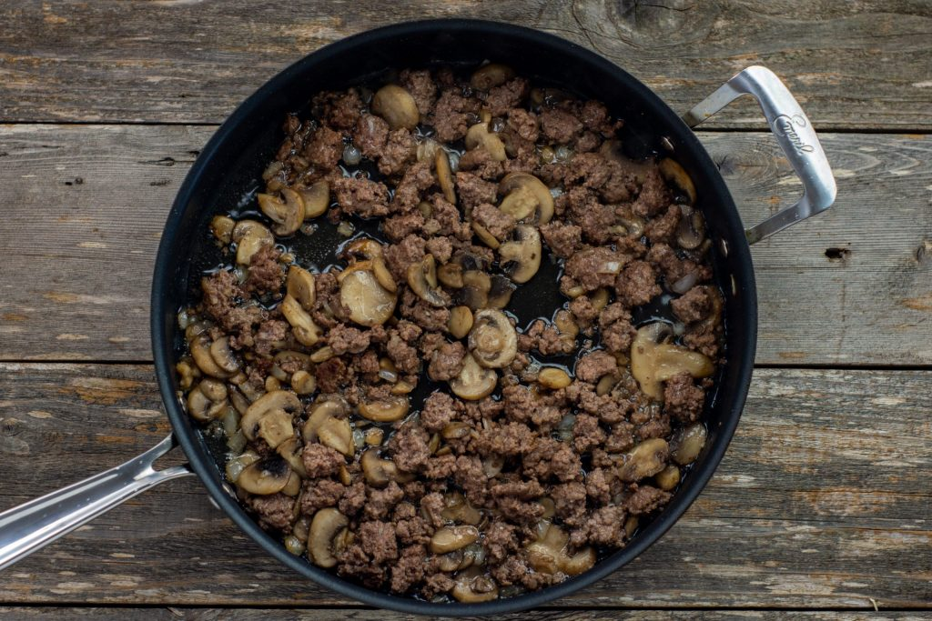 meat and mushrooms in a skillet