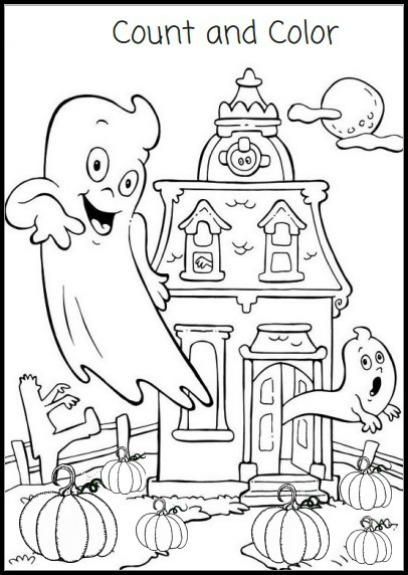 Count and Color Activity Sheet - Free Halloween Printable