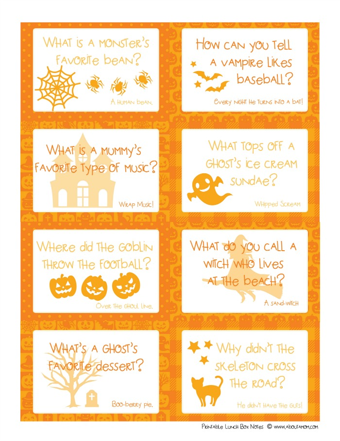 photo relating to Lunch Box Jokes Printable titled Halloween Lunch Tips with Printable Lunchbox Jokes - With regards to