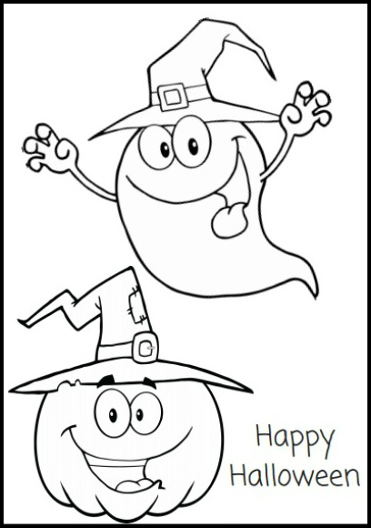 Free printable halloween coloring pages and activity for Happy halloween coloring pages printable