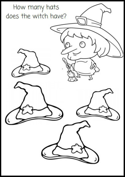 How Many Hats Does the Witch Have Printalble Coloring and Activity Sheet