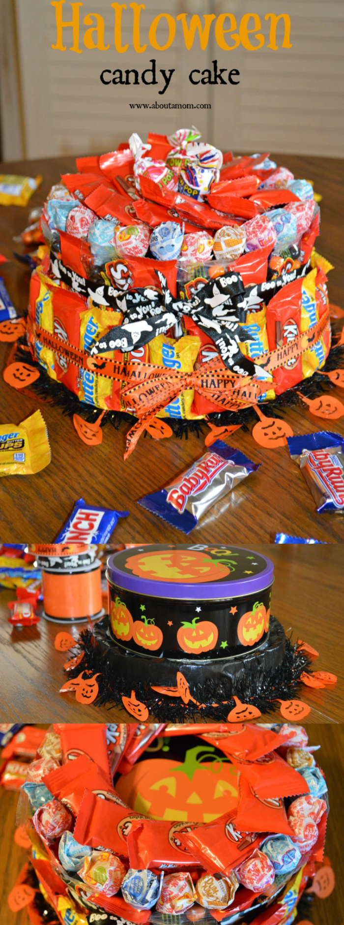 How to make a candy cake for Halloween. It is a fun Halloween gift idea.