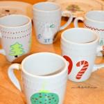 DIY Painted Mugs and Santa Cookie Plate
