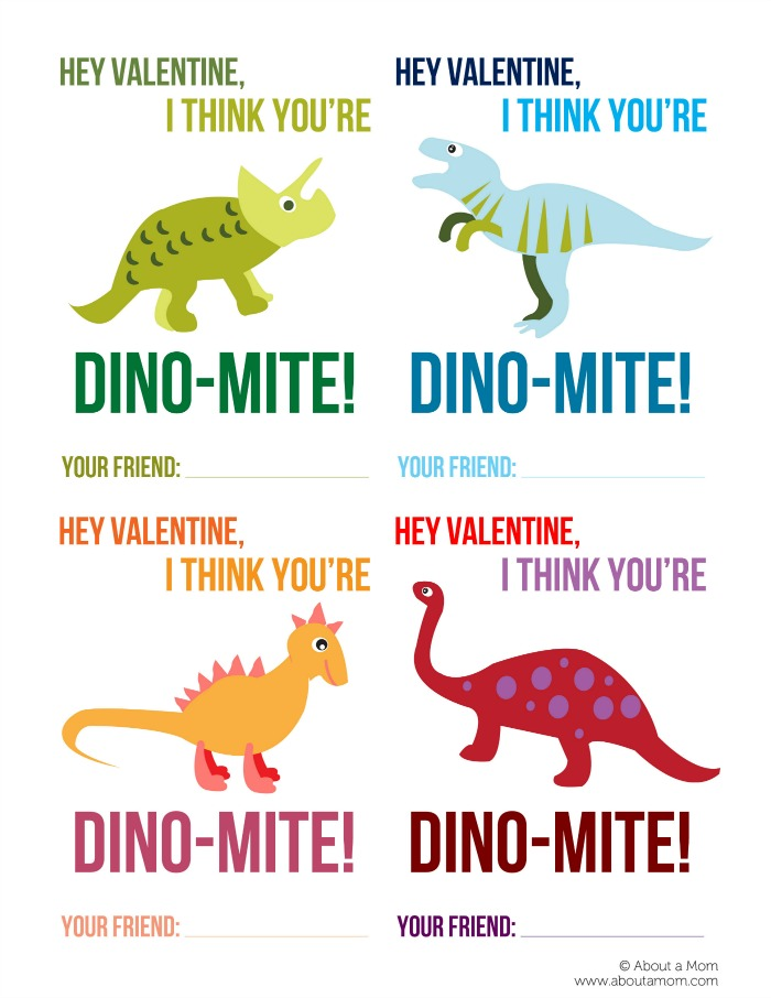 "Free Printable Valentine DINO-Mite Cards - These free printable Dinosaur Valentines are gender neutral and perfect for classmates. Download and print these free printable Valentine's Day cards. This dinosaur valentine is sure to bring a smile to children of all ages. The printable Valentine cards say ""Hey Valentine, I think you're Dino-Mite!"" and include a place for your child to sign their name."