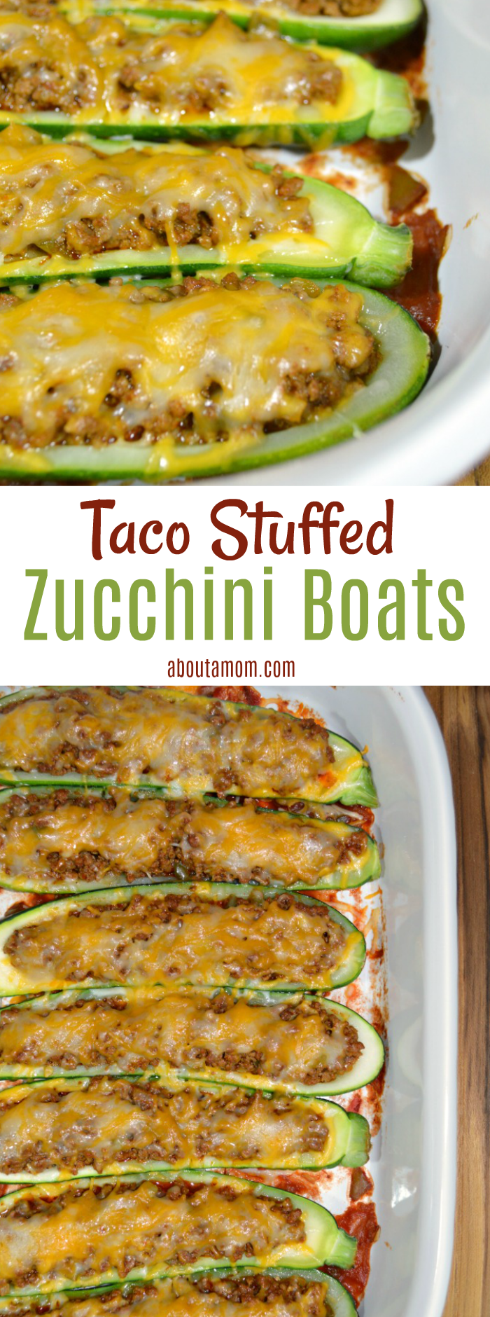 Taco Stuffed Zucchini Boats are a great way to enjoy tacos without tortillas. It is a delicious low carb recipe.