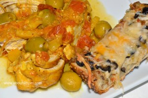 Moroccan Lemon Chicken with Olives and Cheesy Olive Bread